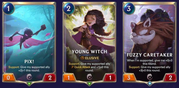 Pix! Young Witch, and Fuzzy Caretaker (LoR cards)