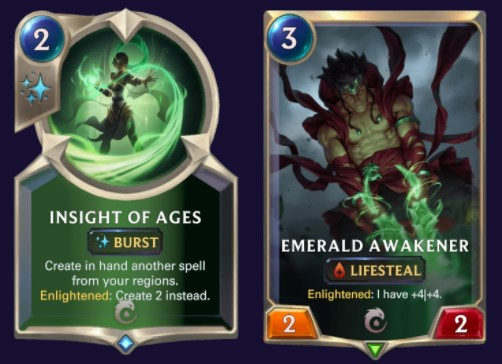 Insight of Ages and Emerald Awakener (LoR cards)
