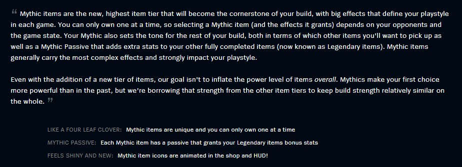 Mythic Items patch notes blurb