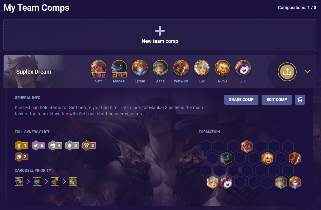 TFT My Team Comps Example