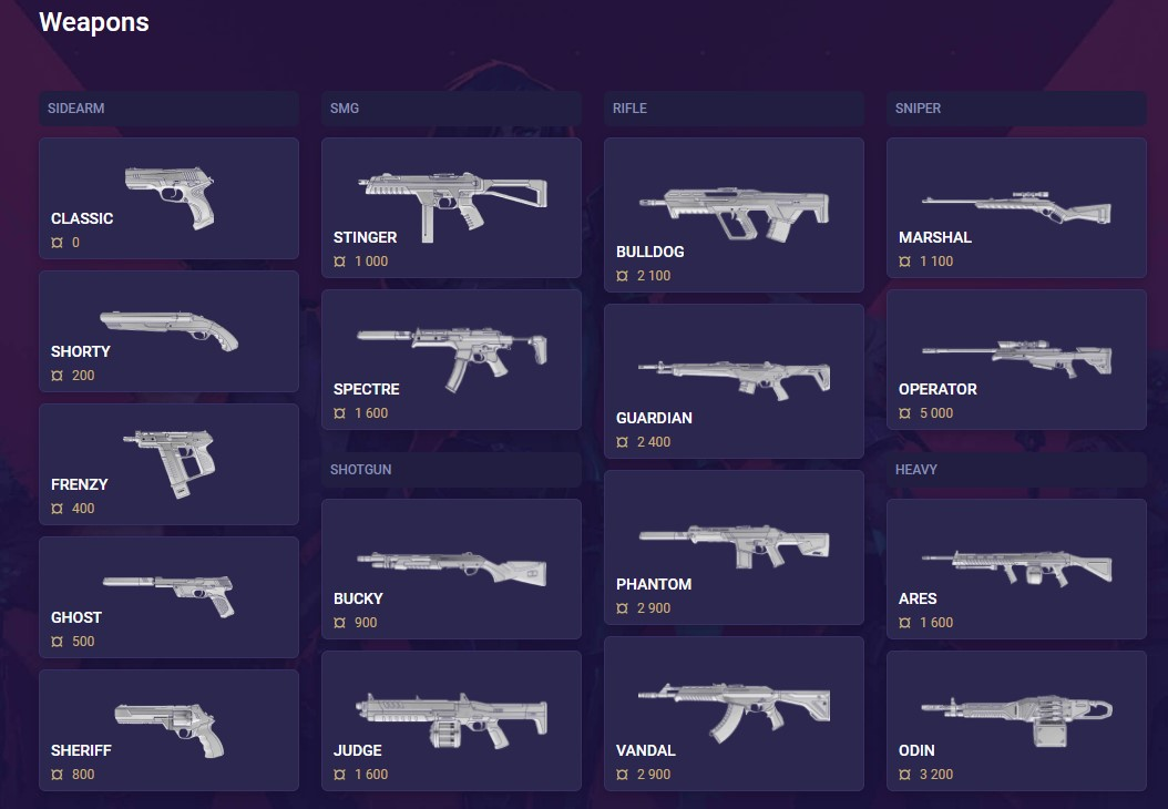 Valorant Weapons page