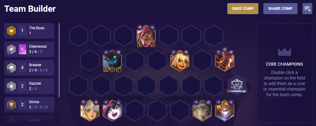 TFT Comp Builder Example Positioning