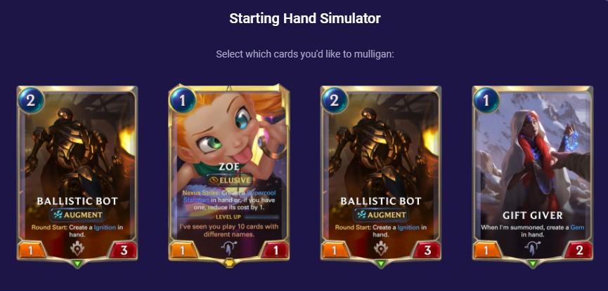 Zoe Viktor (Starting Hand simulator screenshot)