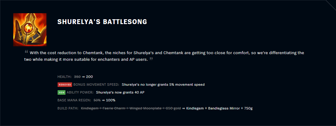 Patch 11.2 Shurelya's Battlesong