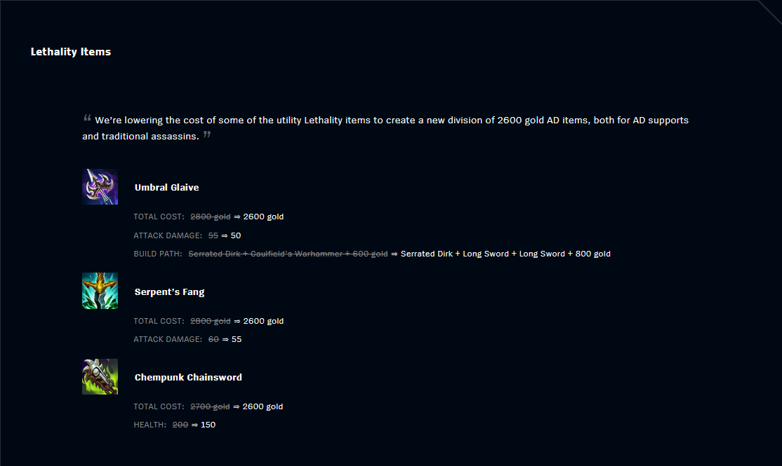 Patch 11.2 Lethality Items