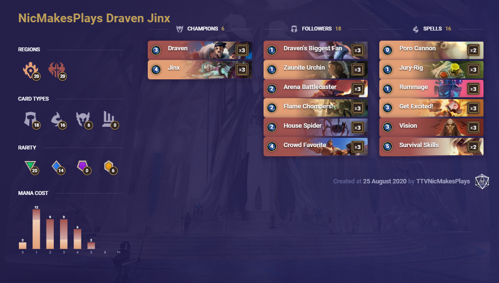 NicMakesPlay Draven Jinx (LoR Deck)