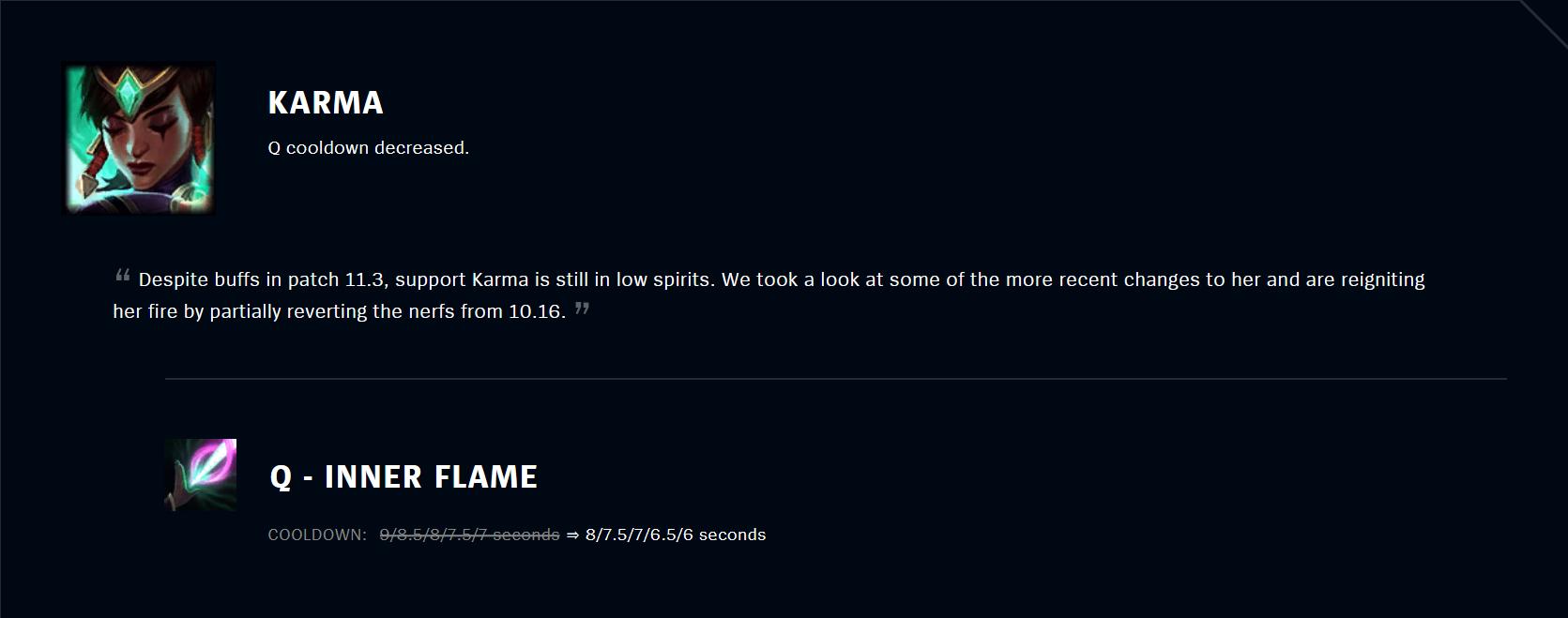 Patch 11.5 Karma