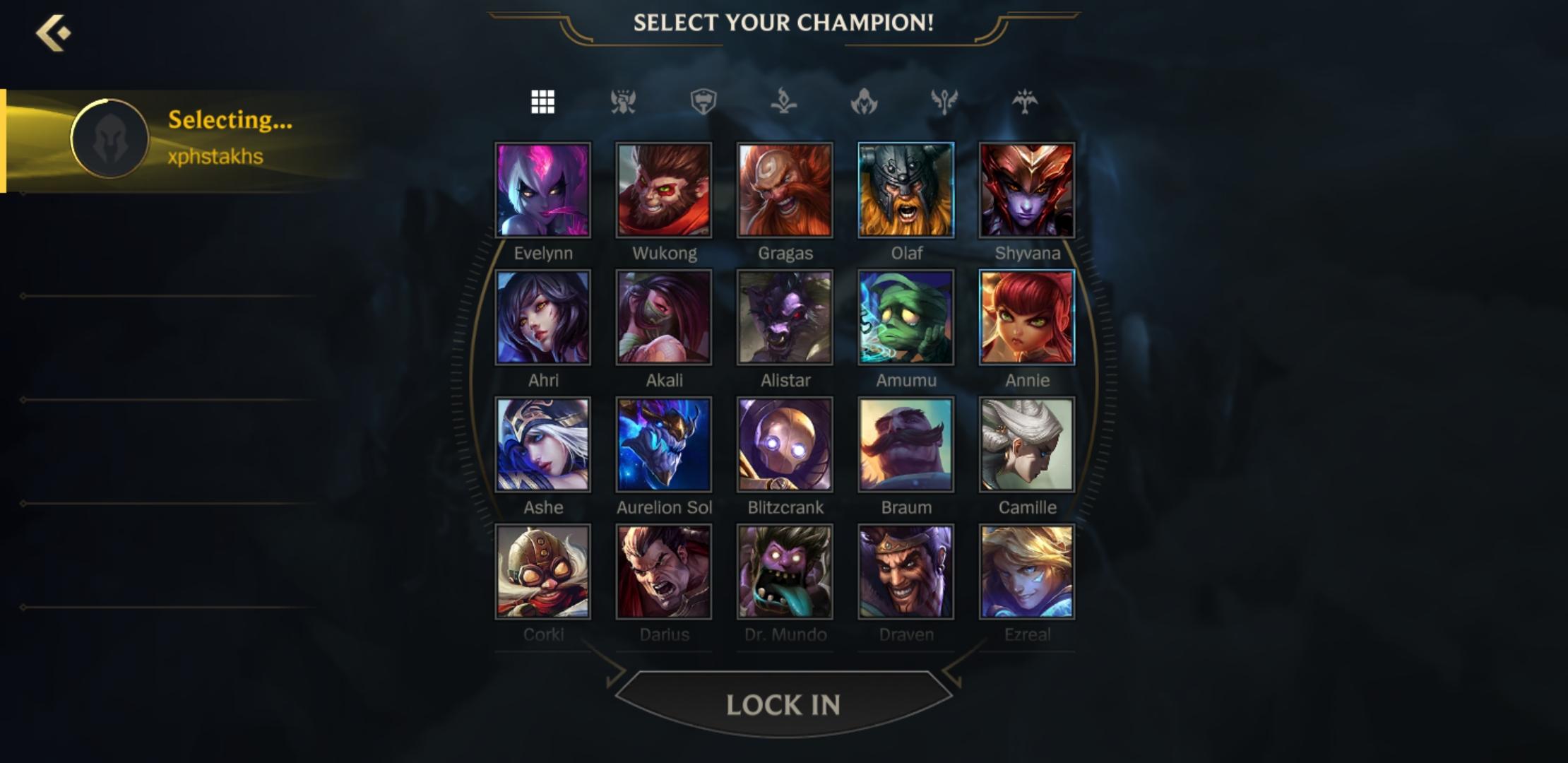 Wild Rift champ select