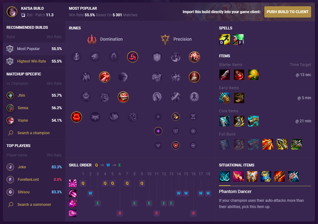 Kai'Sa champion Build 11.3