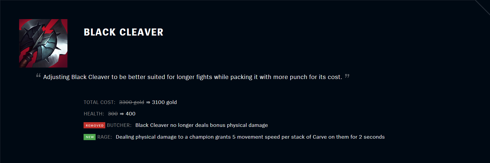 Patch 11.5 Black Cleaver