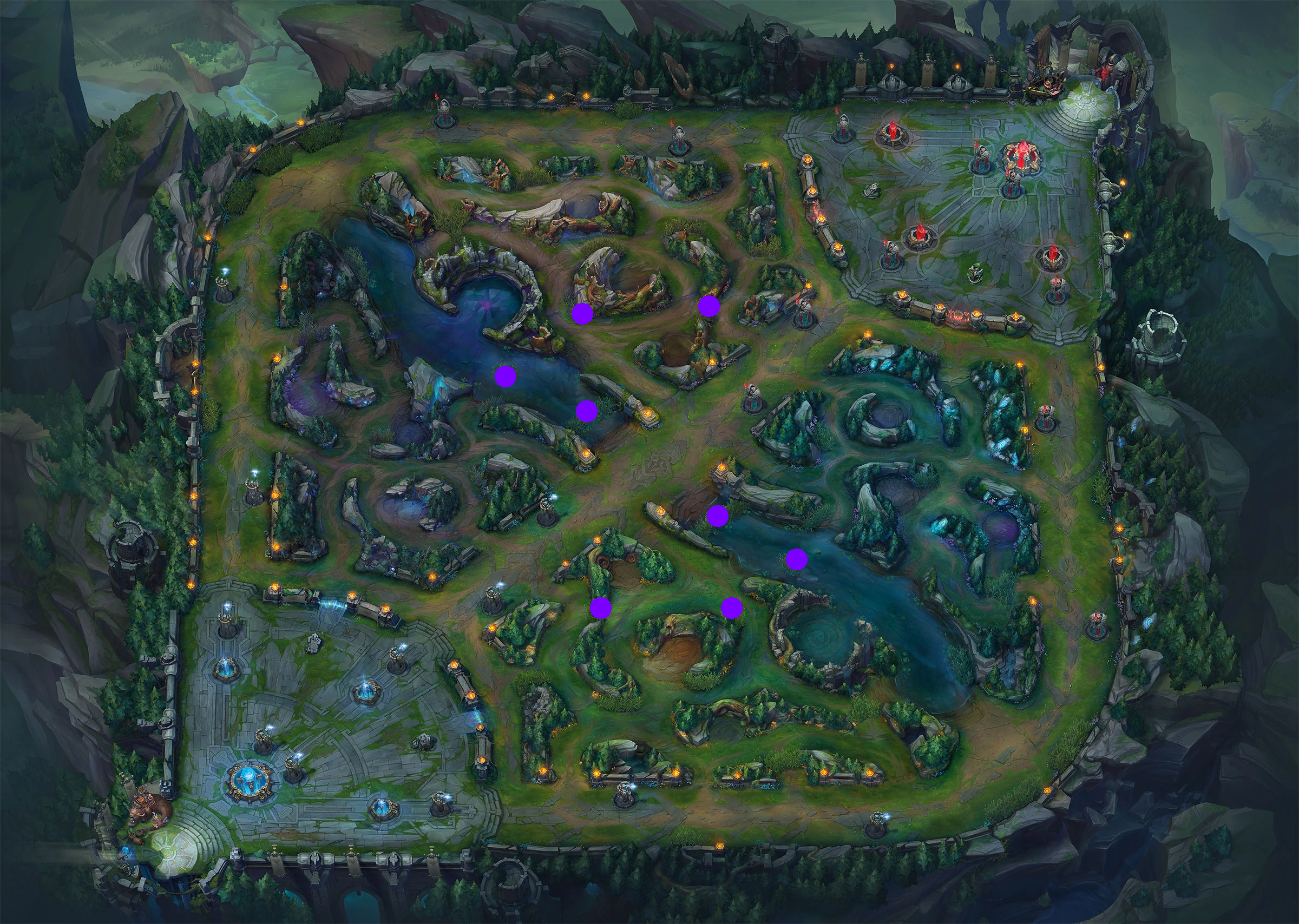Locations to pick off enemy champions