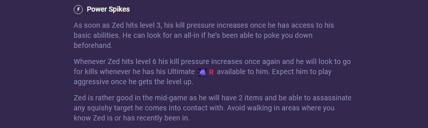 Zed power spikes counter