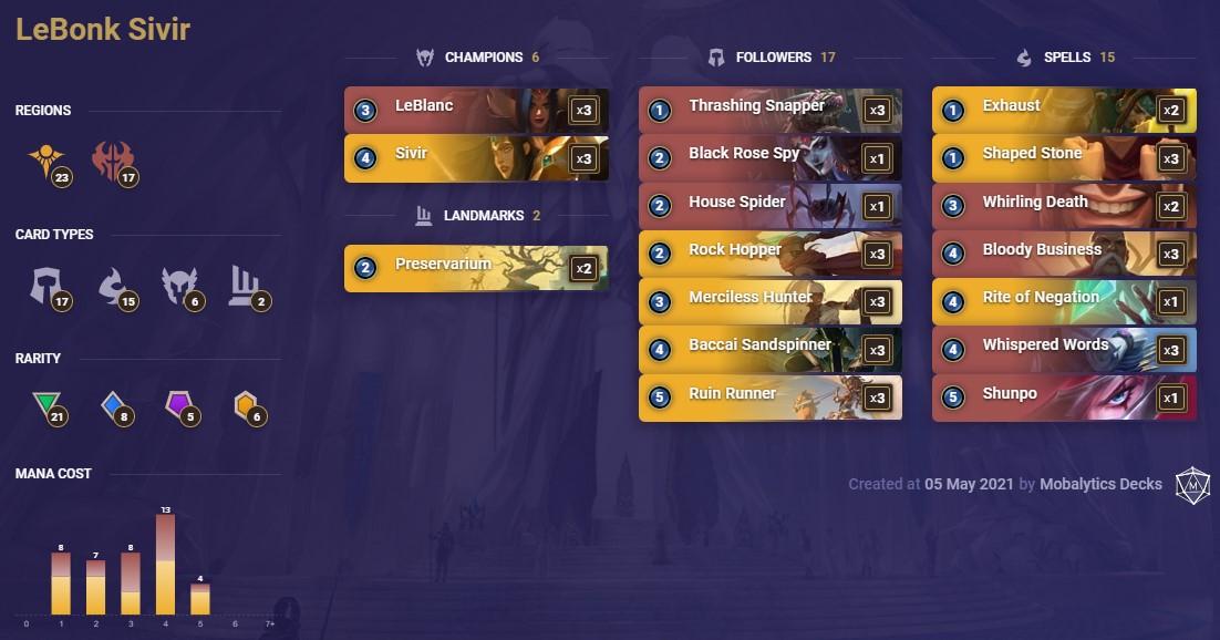Lebonk Sivir (LoR deck 5-5)