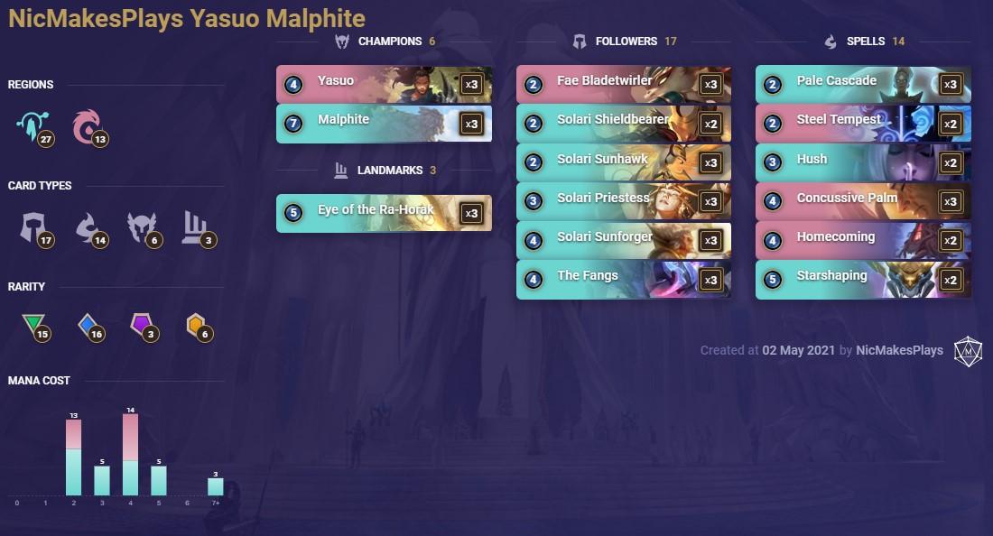 NicMakesPlays Yasuo Malphite (LoR Deck)