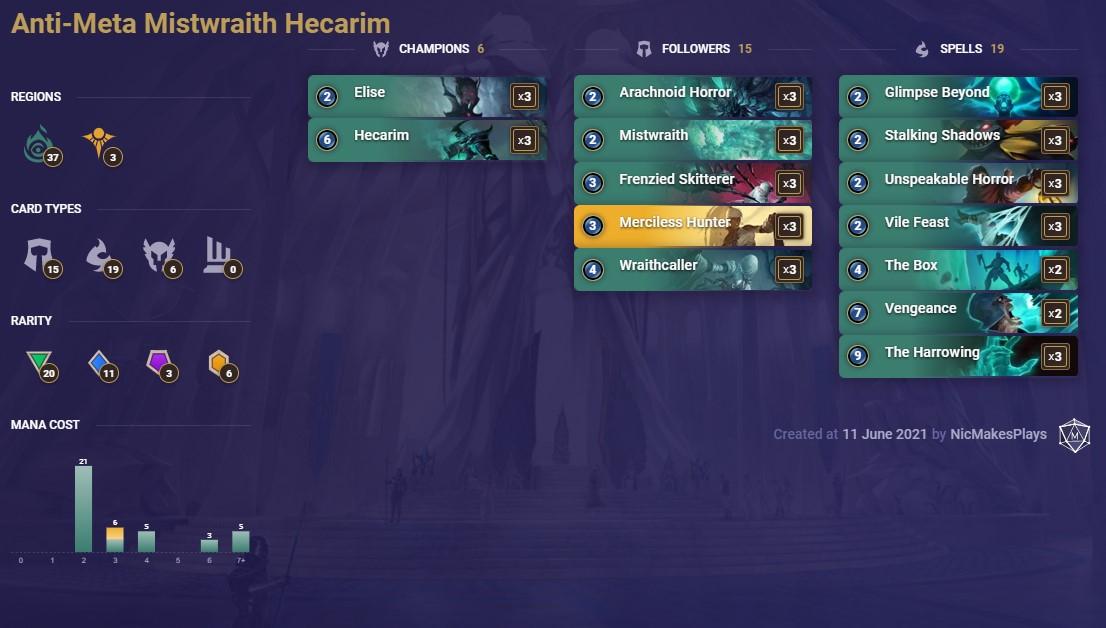 Anti-Meta Mistwraith Hecarim (LoR Deck)