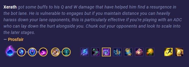 Xerath pick of the patche example (LoL)