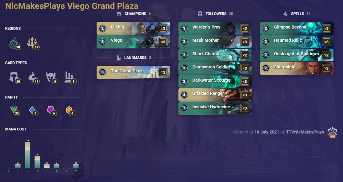 NicMakesPlays Viego Grand Plaza (LoR Deck)