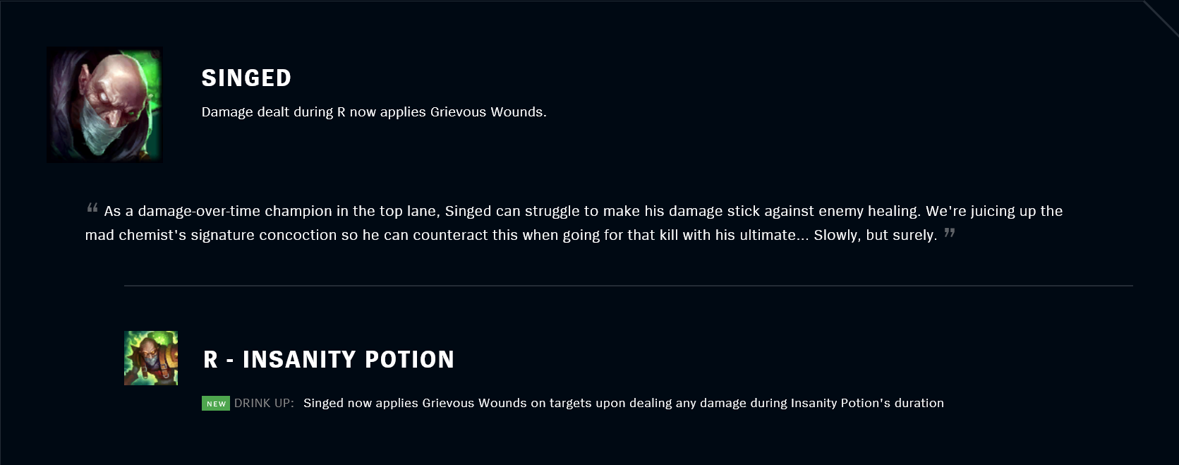 Patch 11.18 Singed