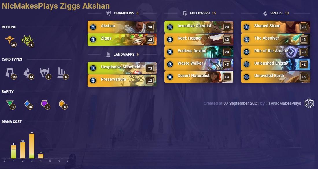 NicMakesPlays Ziggs Akshan (LoR Deck)